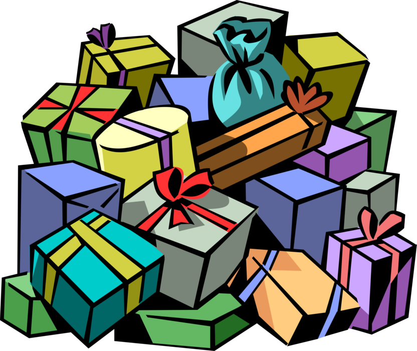 Pile of presents png. Christmas with ribbons vector