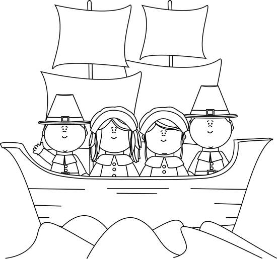 Pilgrims clipart black and white. On the mayflower clip