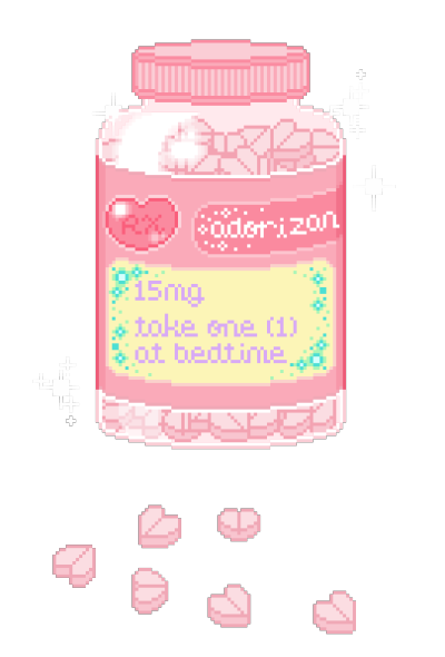 Kawaii transparent pixel pills