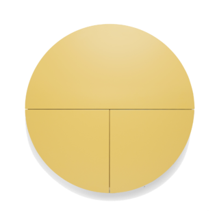 Pill transparent circle. Wall mounted desk in