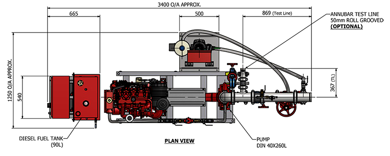 Pump drawing monoblock. Fire hydrant systems all