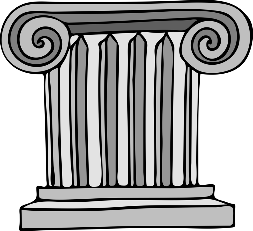 Pillar drawing. Column ancient roman architecture