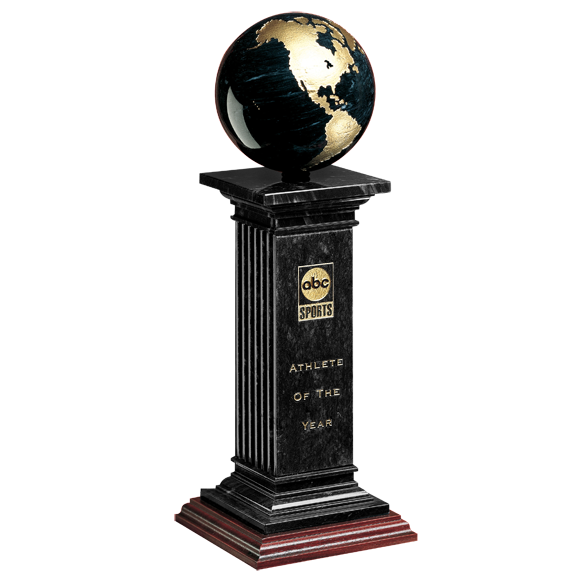 Pillar transparent renaissance. Globe award etched marble