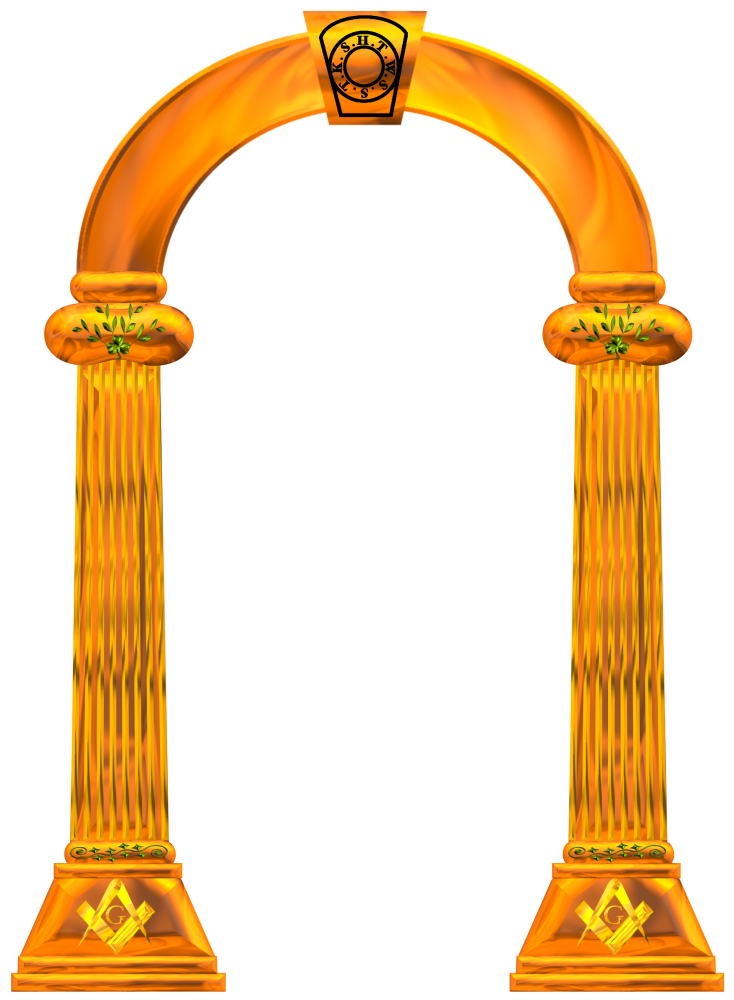 Pillar transparent gold. Collection of free arched