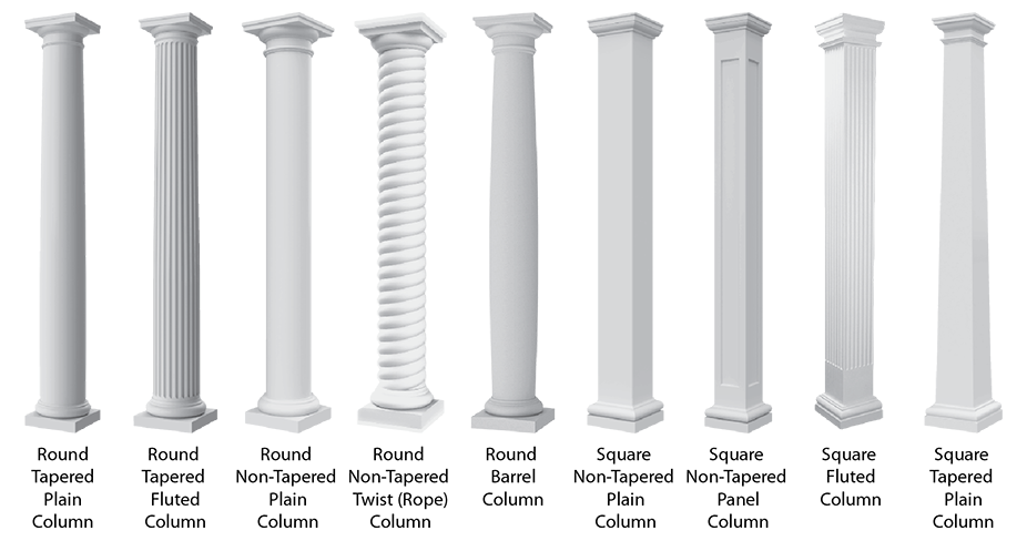 Architectural cad drawings columns. Pillars drawing template vector black and white