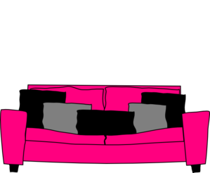 Couch clipart pink couch. Pillow pillowblack free on