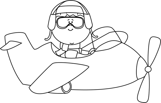 Pilot drawing baby. Cute airplane an clip