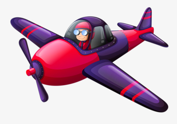 Cartoon red purple aircraft. Pilot clipart small plane clip art black and white stock
