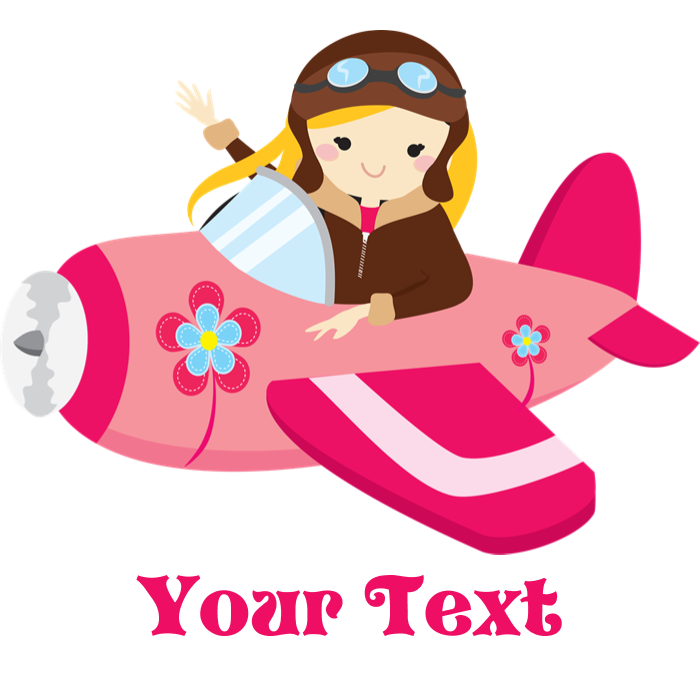 Pilot clipart woman pilot. Pink airplane girl with