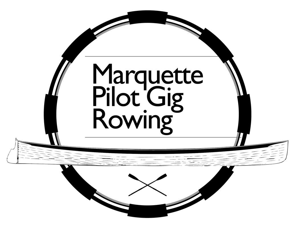 Pilot drawing logo. Marquette gig rowing chad