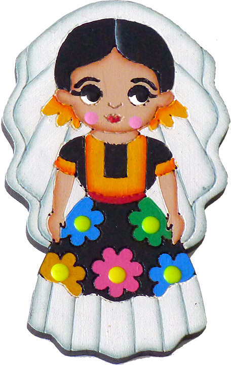 Maracas drawing traditional clothing mexican. Tehuana dress magnet wooden