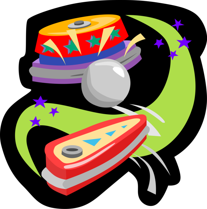 Pinball vector. Game flippers image illustration