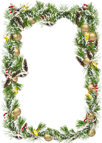 Christmas decorated pine cones png. Transparent photo frame with