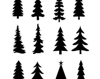 Pine clipart coniferous tree. Silhouette free download best