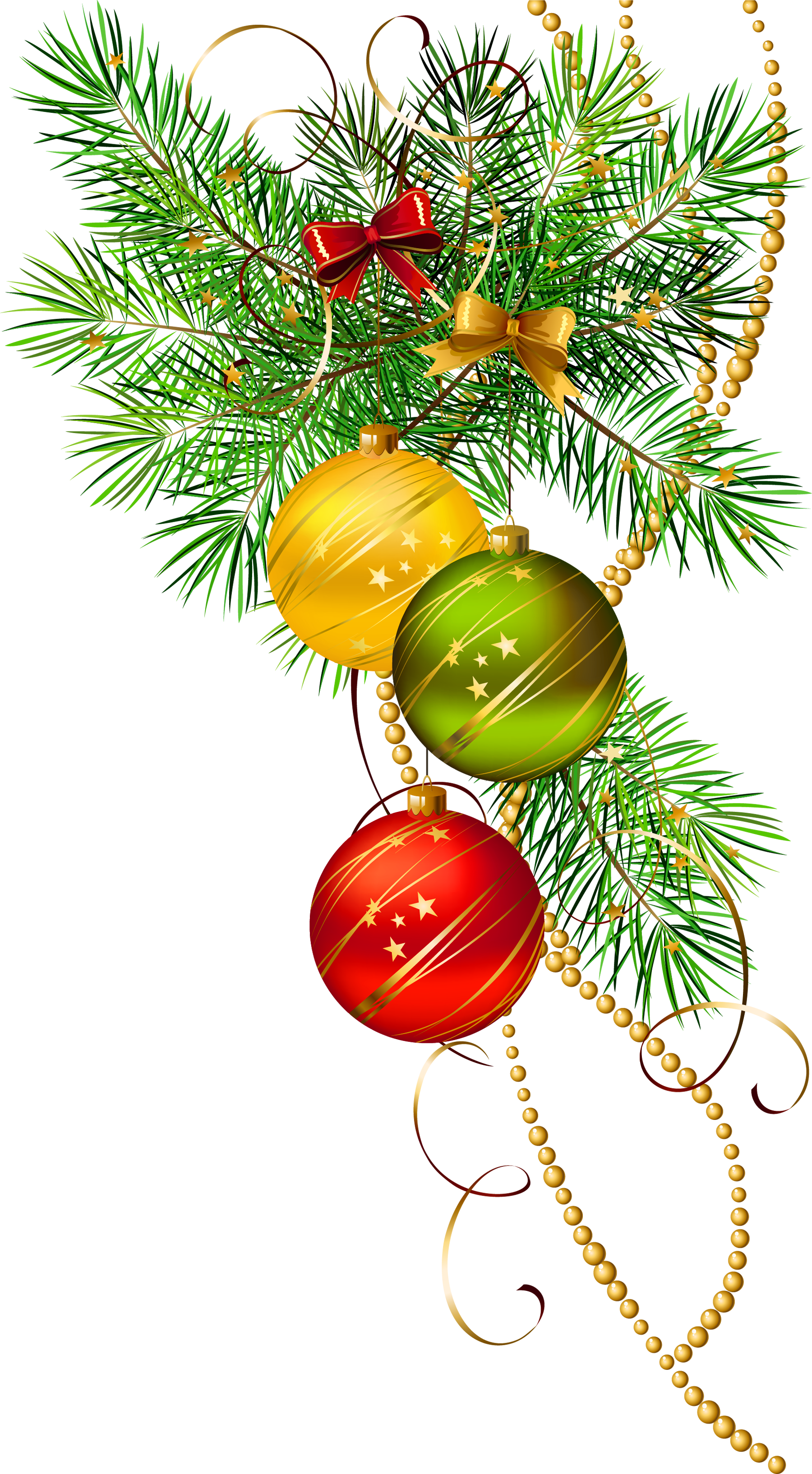 Pine clipart three. Christmas balls with branch