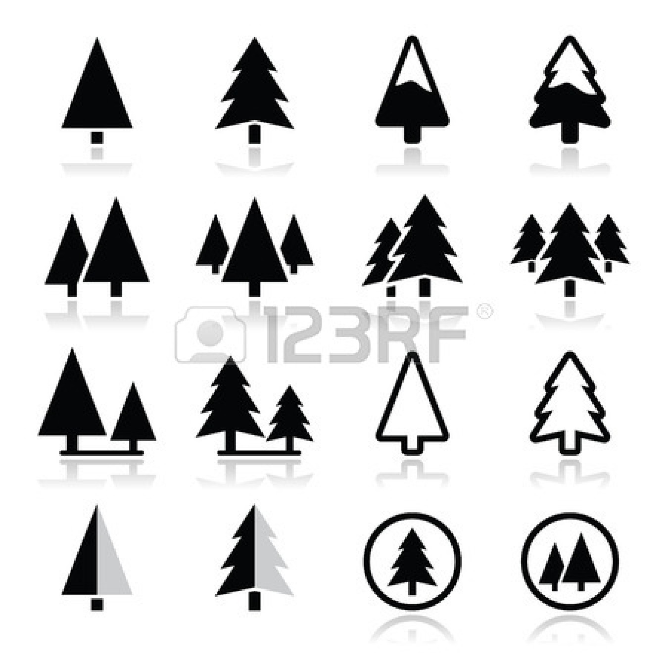 Pine clipart triangle tree. Silhouette panda free images