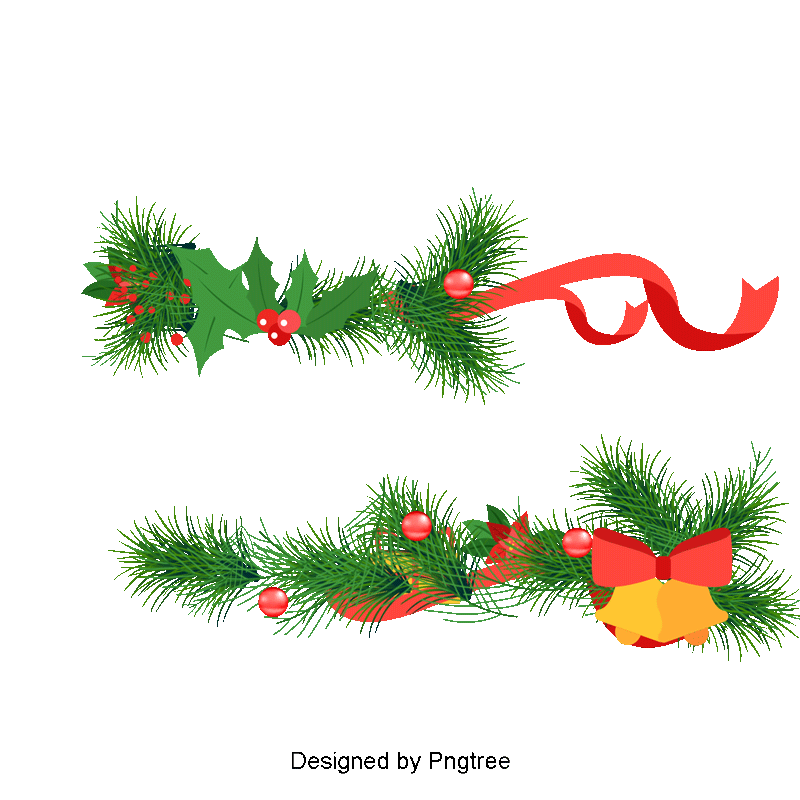 Navidad vector png. Christmas bells and pine