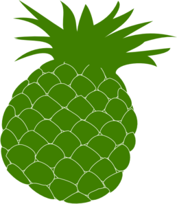 Medium pineapple. Green clip art at