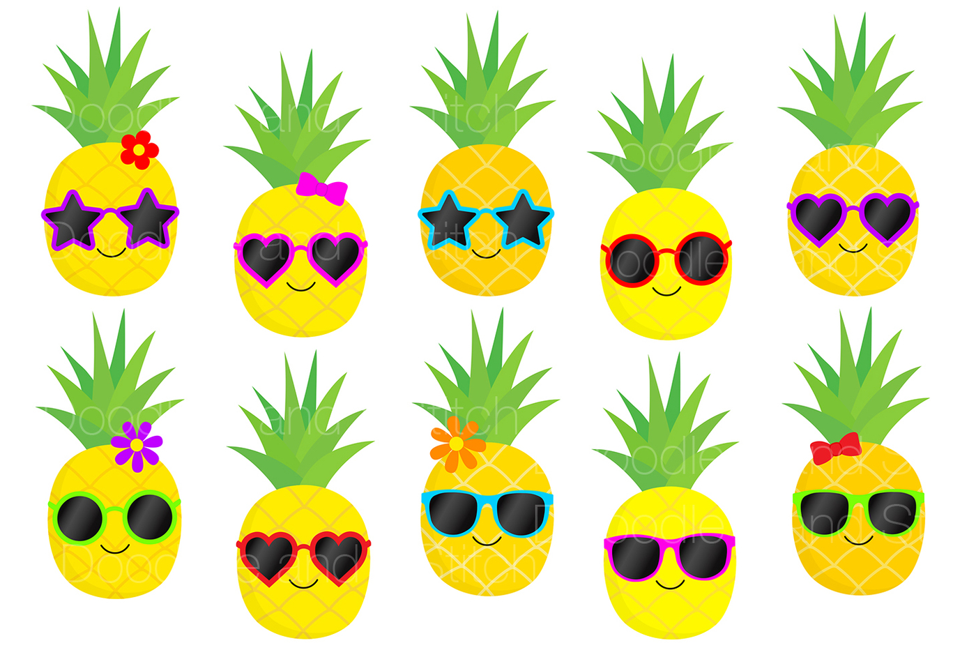 Pineapple clipart. Funky set by doodle