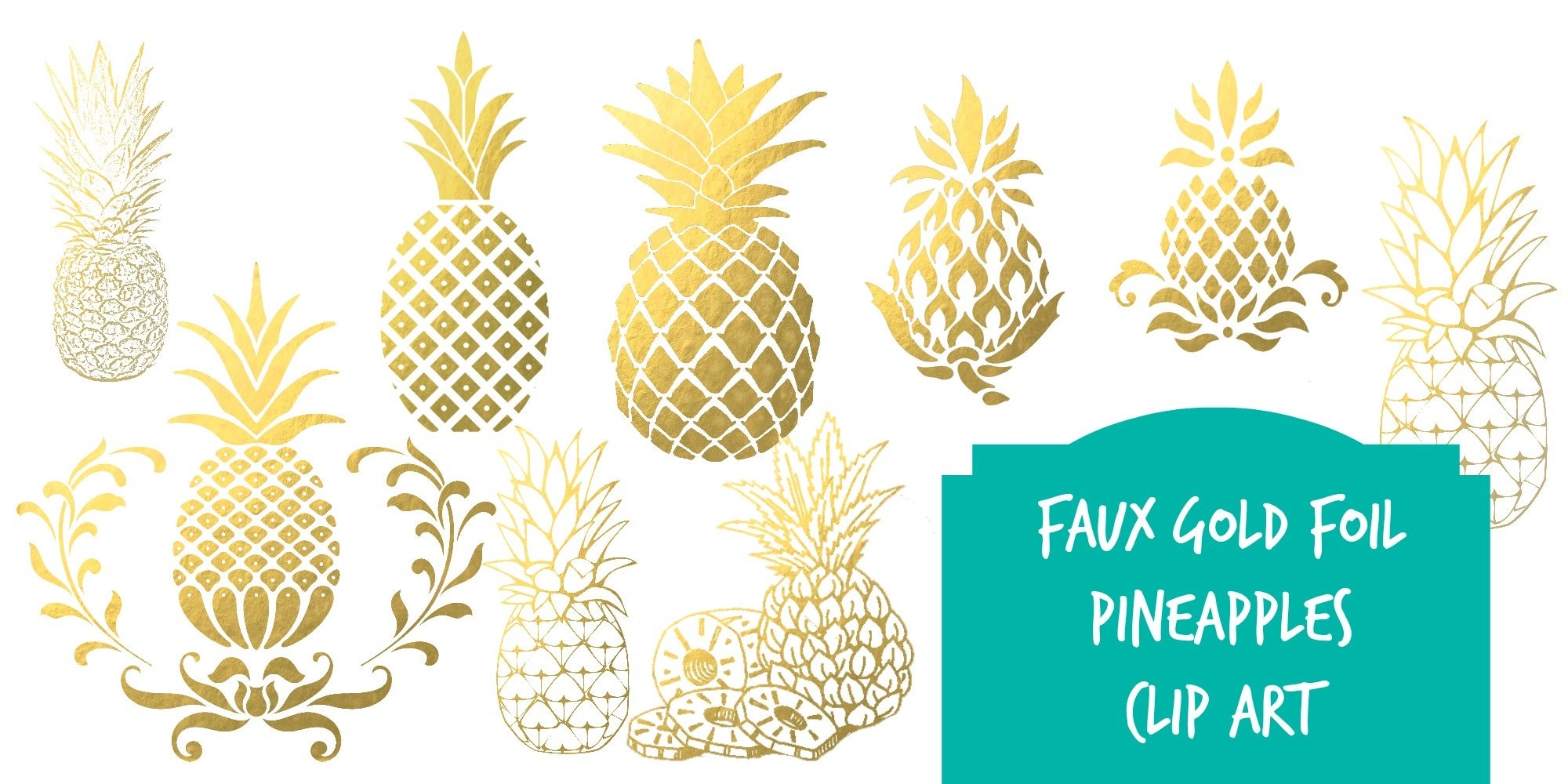 Pineapple clipart fancy. Cool of gold letter