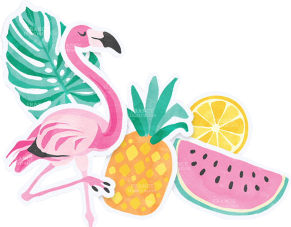 Pineapple clipart summer. Summercollagewatermelon flamingo glass report