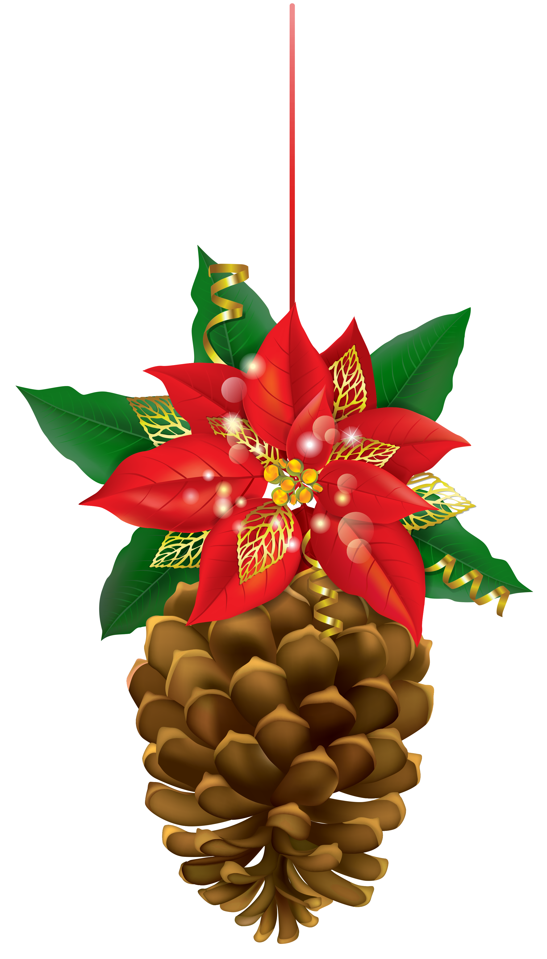 Pinecone clipart cartoon. Christmas with poinsettia png