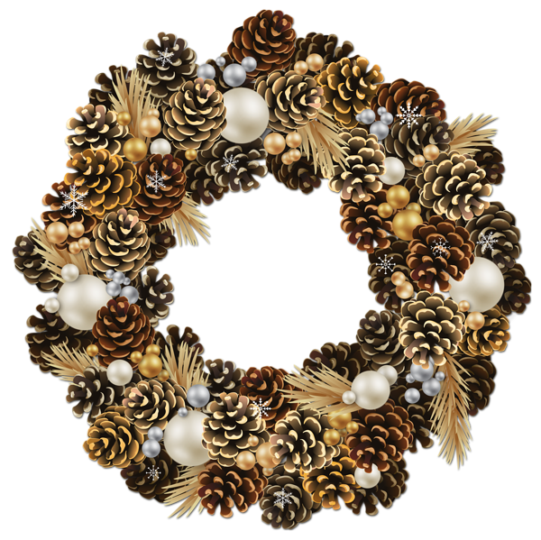Pinecone clipart pinecone garland. Transparent christmas wreath with