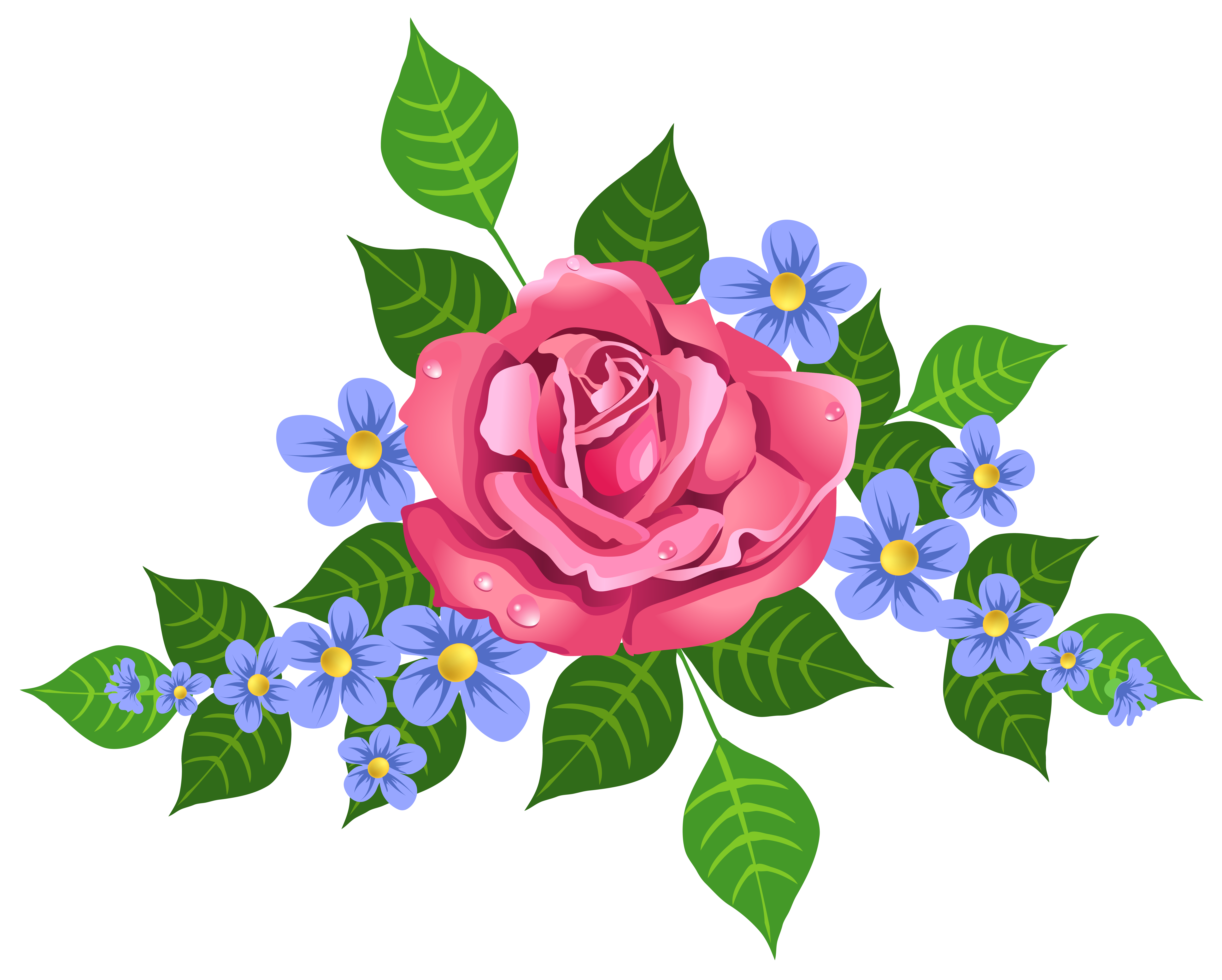 Pink and blue flowers png. Rose decorative element image