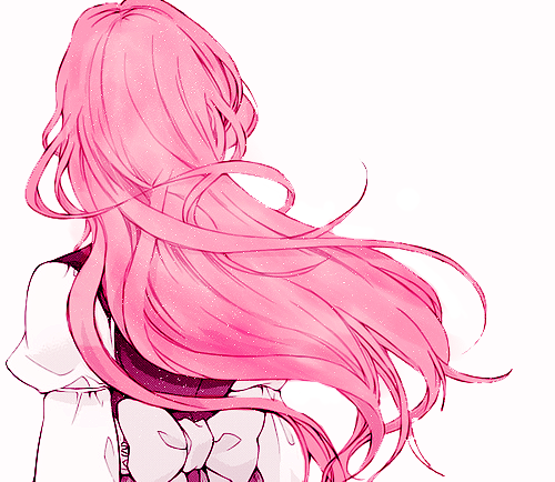 Pink hair and art. Drawing apple anime clip library stock