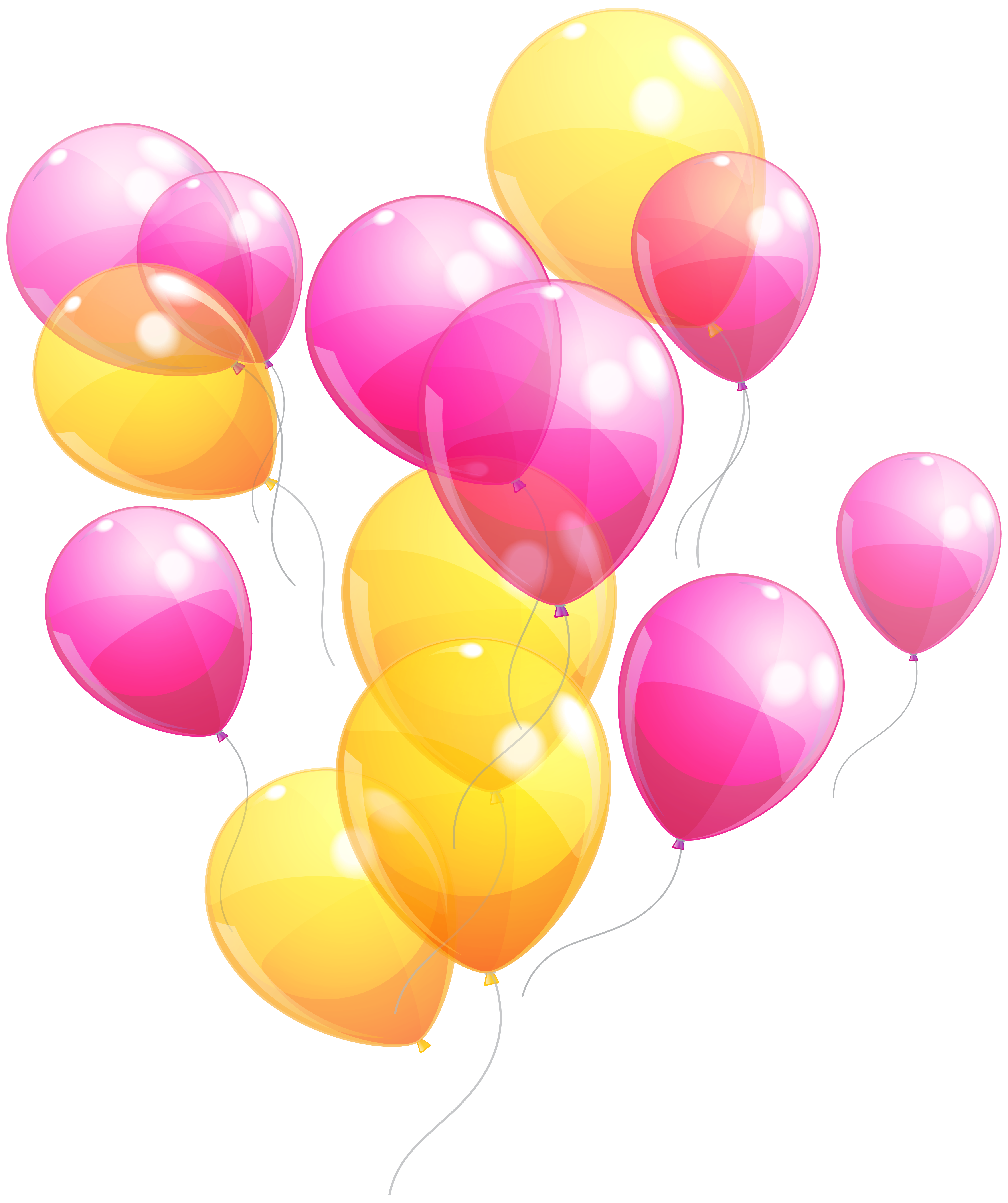 Pink balloons png. And yellow bunch clipart