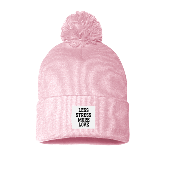 Pink beanie png. Less stress patch pom
