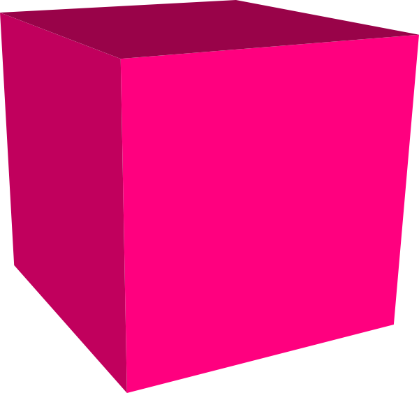 Pink square png. Cube d background free