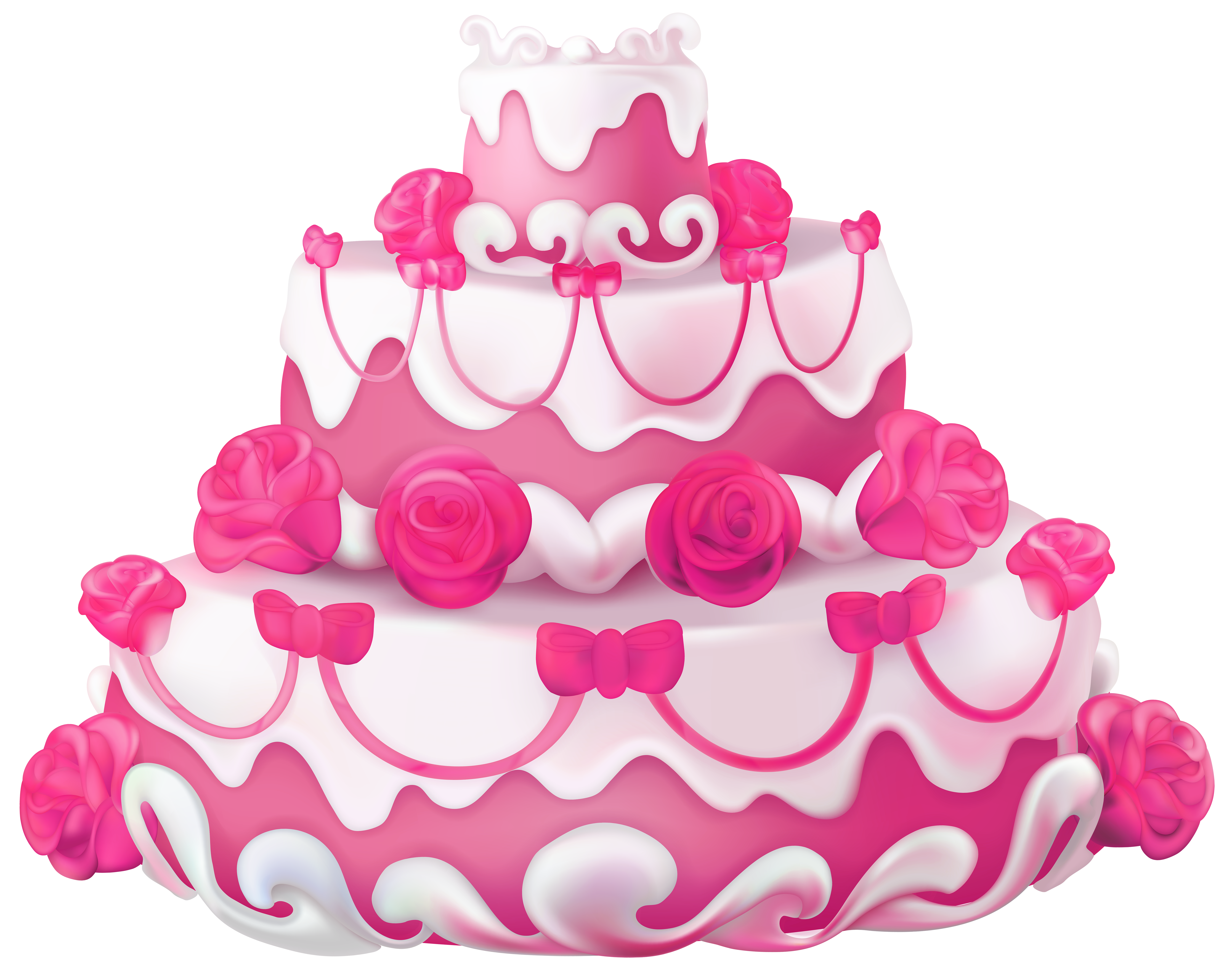 Pink cake png. With roses transparent clip