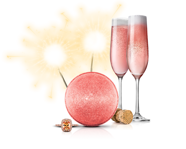 Pink champagne png. Bath bomb fragrant jewels