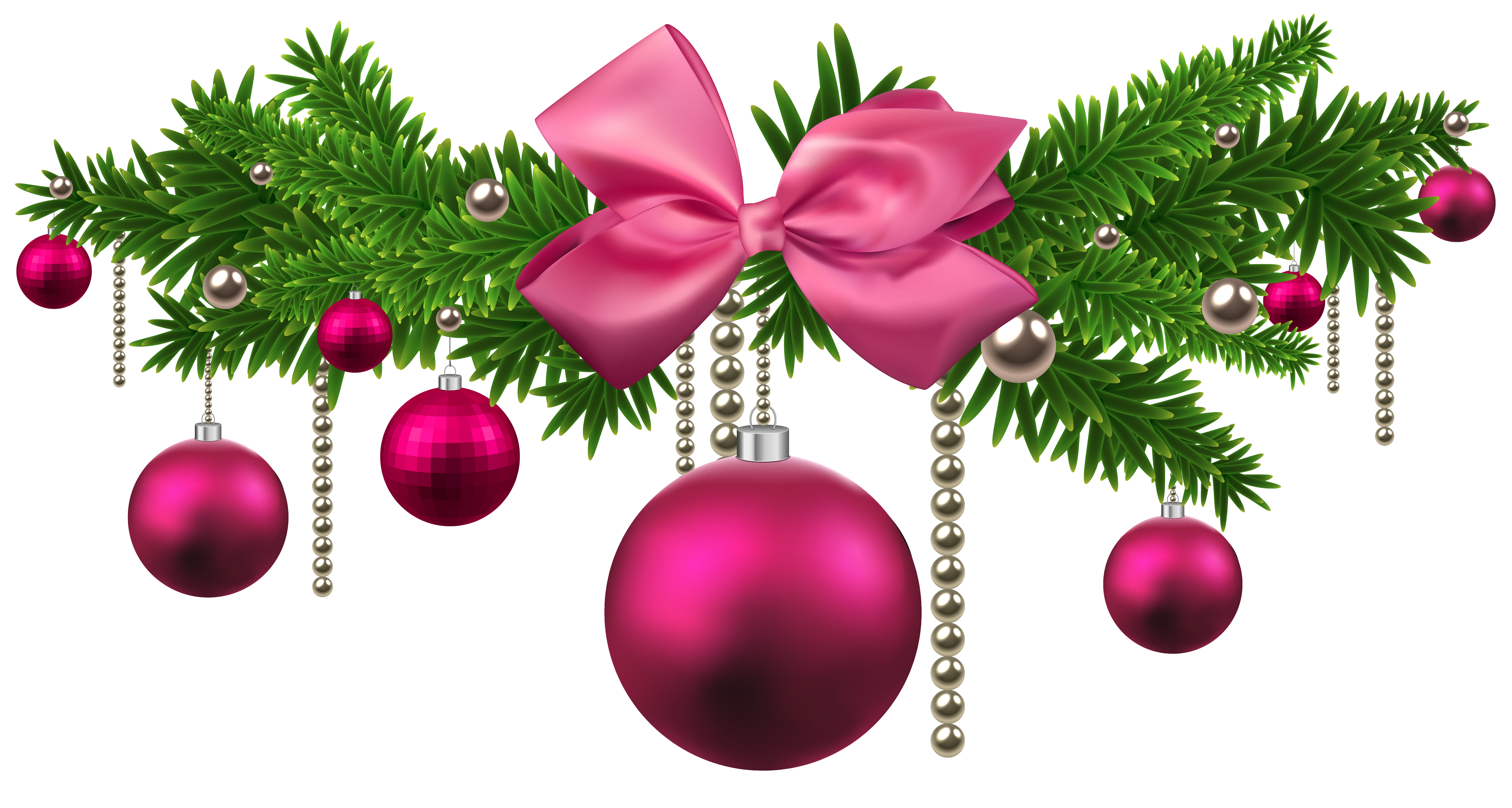 New yeard ornaments png. Pink christmas balls decoration