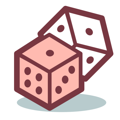 Pink dice png. Game gambling icon and
