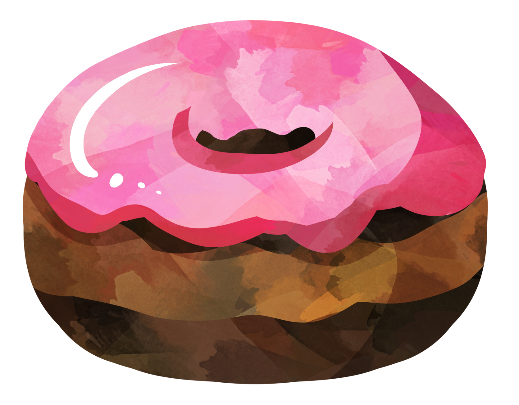 Pink donut. Watercolor chocolate with