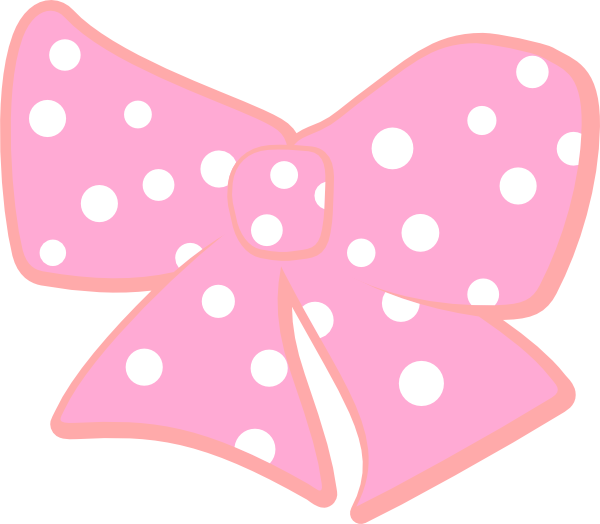 Pink dots png. Bow with polka clip