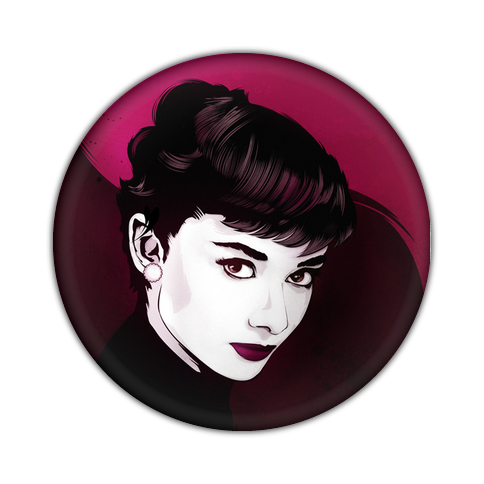 Pink drawing celebrity. Audrey chapa badge button