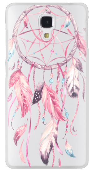 Pink drawing dreamcatcher. Cases watercolor feather dream