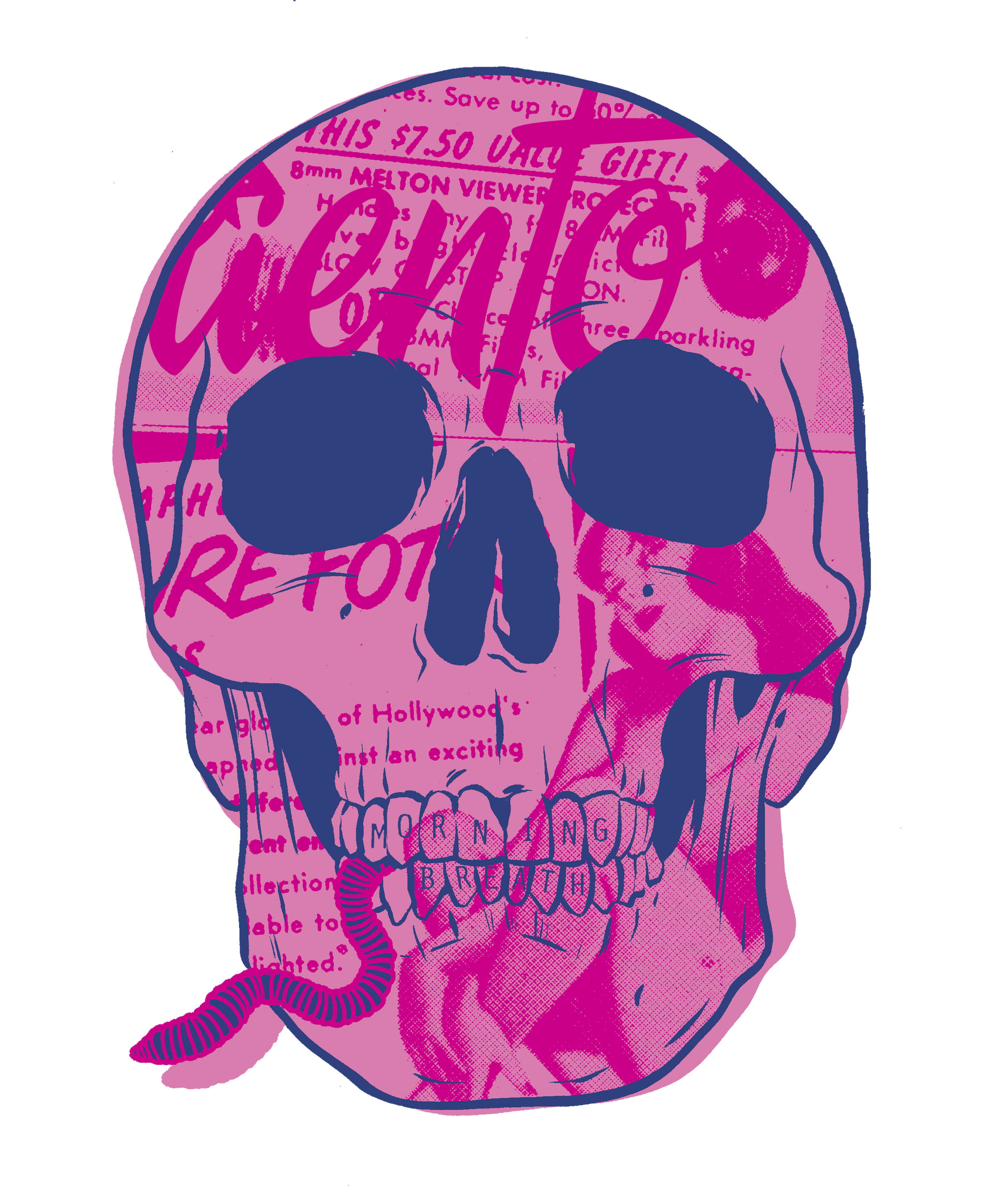 Pink drawing skull. S