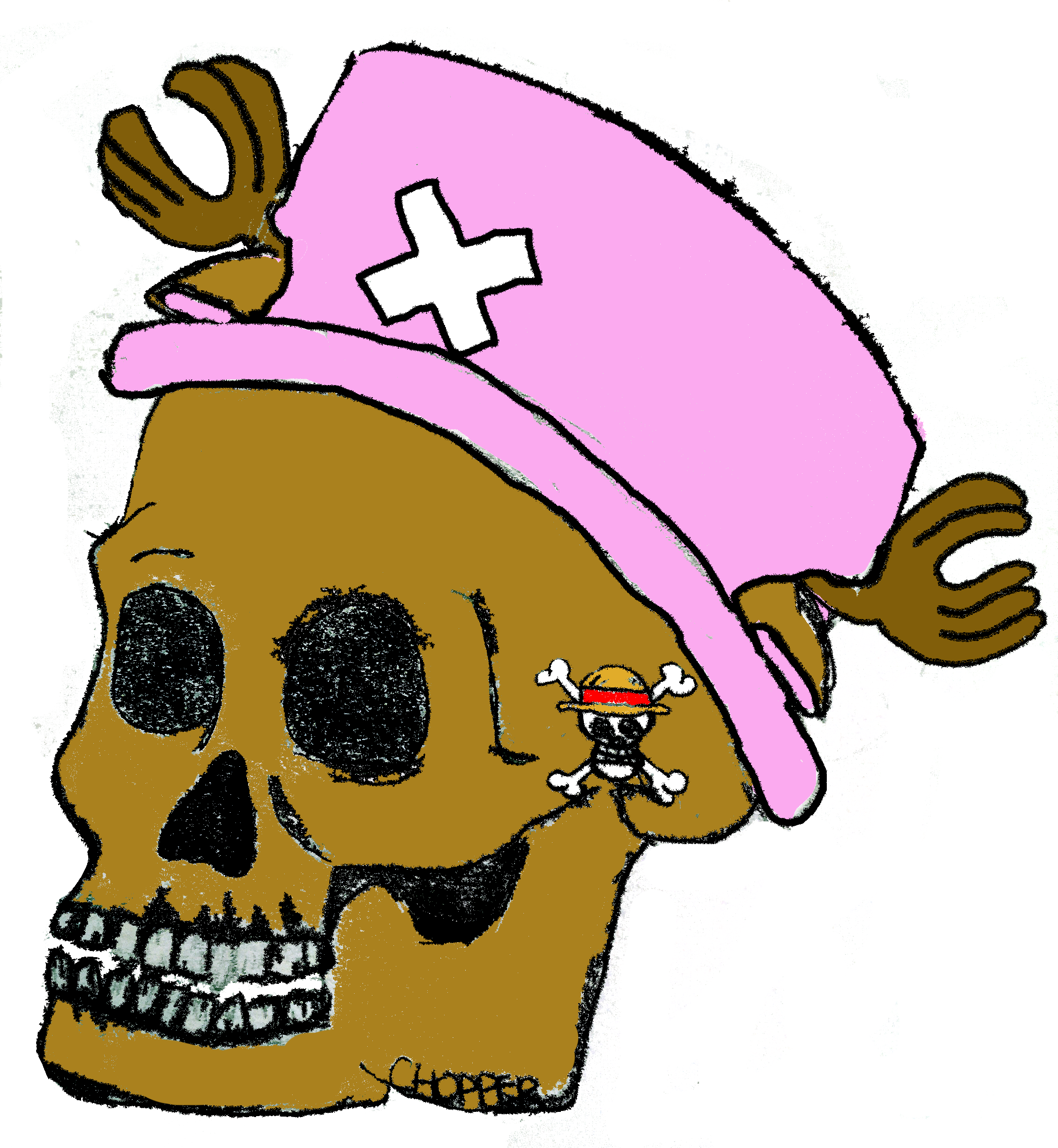 Pink drawing skull. One piece chopper head