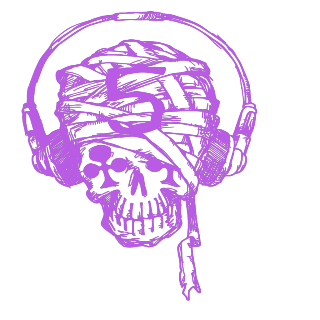 Pink drawing skull. Mq skulls music notes