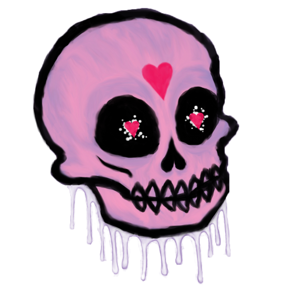 Pink drawing skull. By candle chan on
