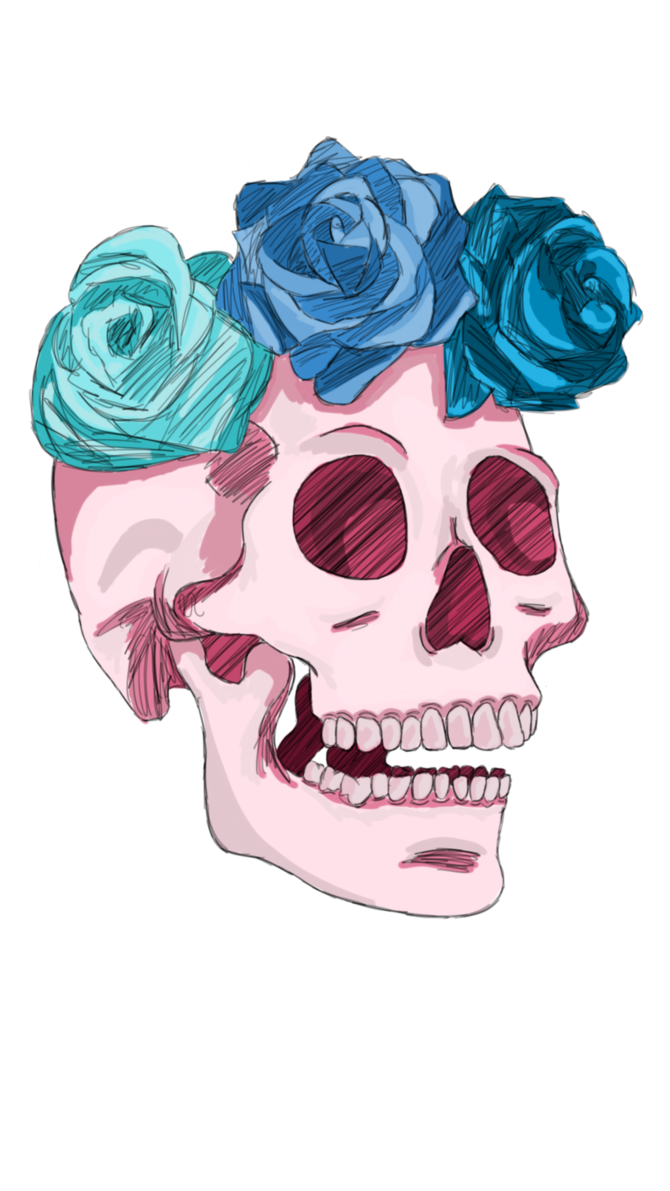 Pink drawing skull. Remade transparent by kondork