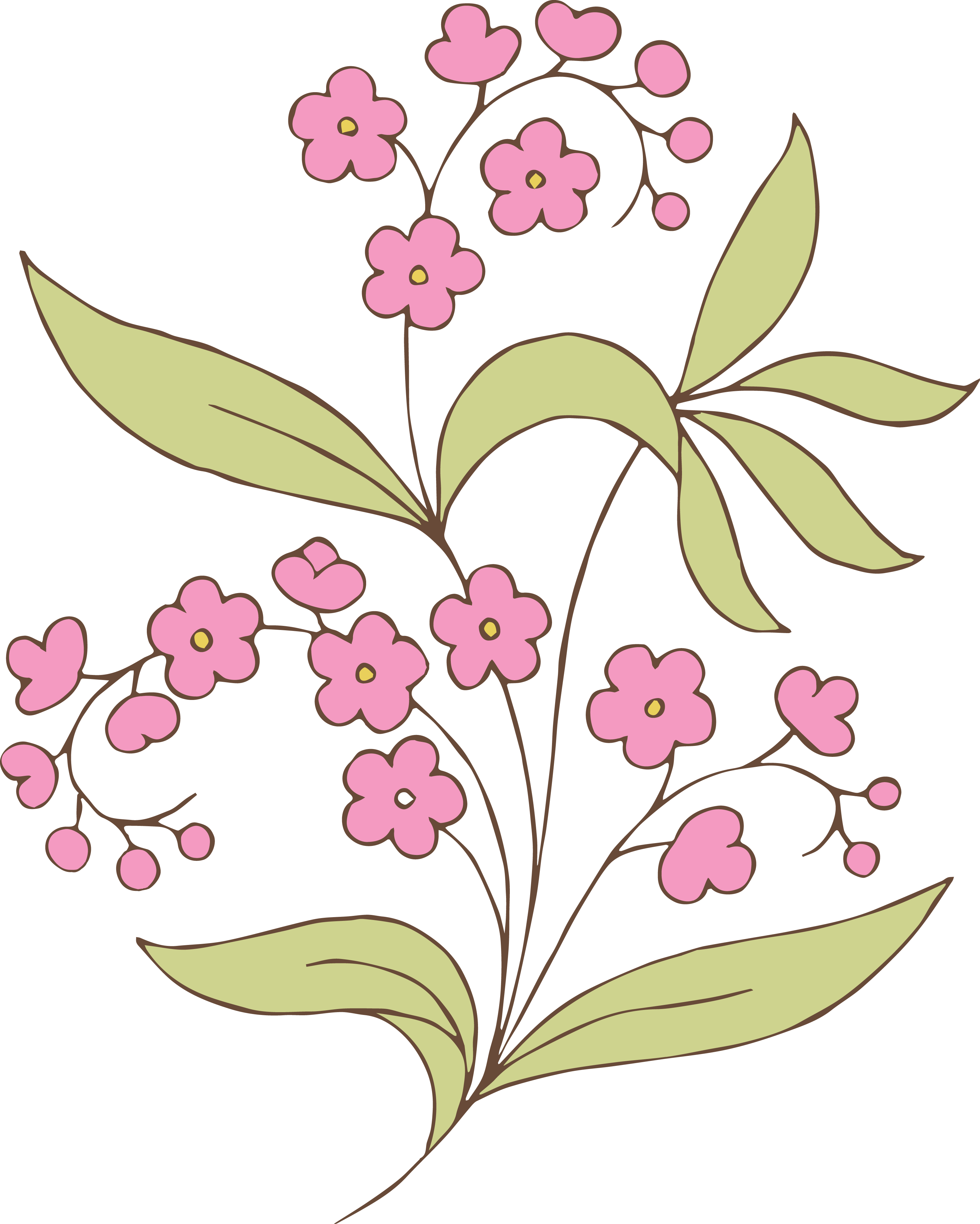 Pink flower drawing at. Greenery vector graphic freeuse