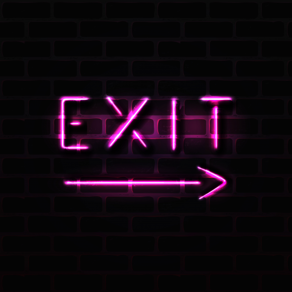 Pink exit neon sign realistic vector illustration.