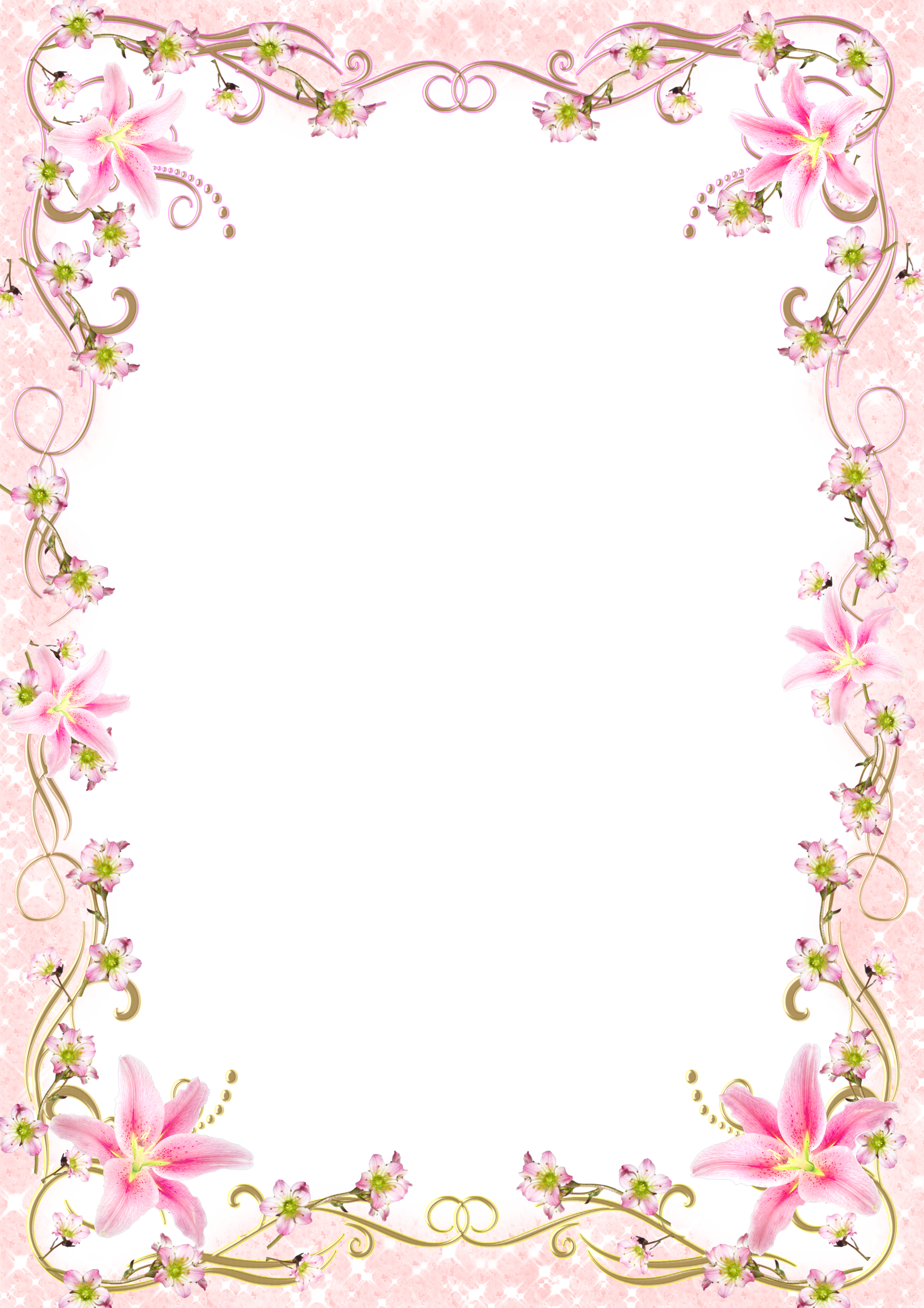 Pink floral border png. Download picture frame template