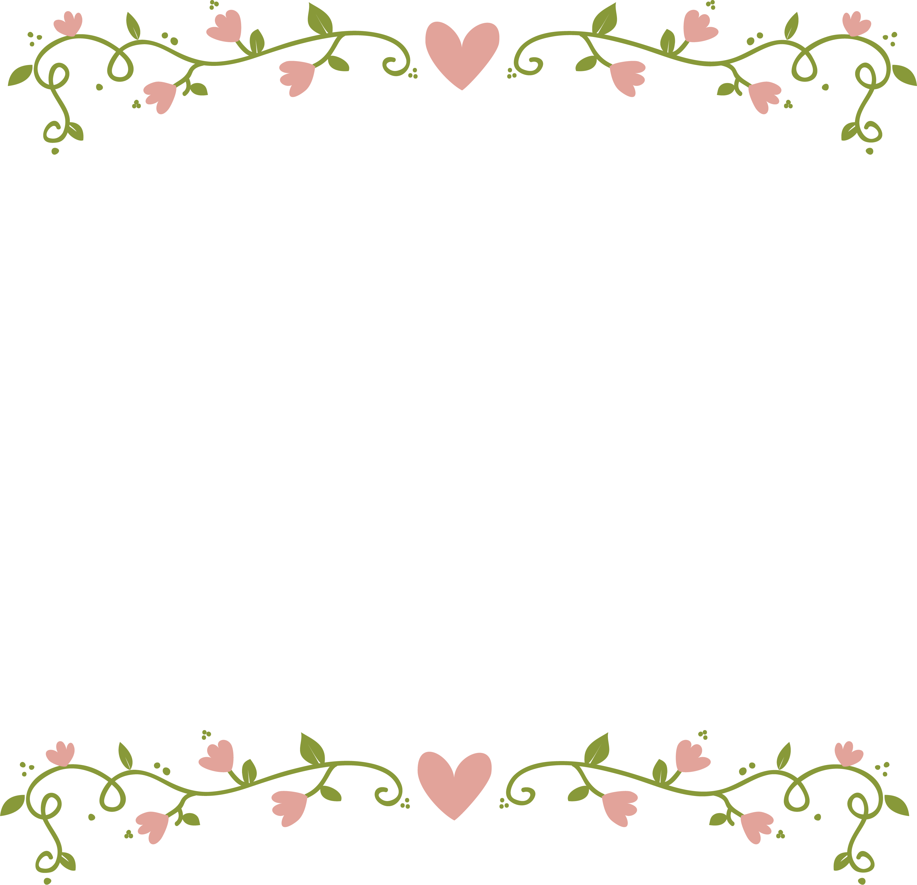 Pink floral border png. Flowers clip art love