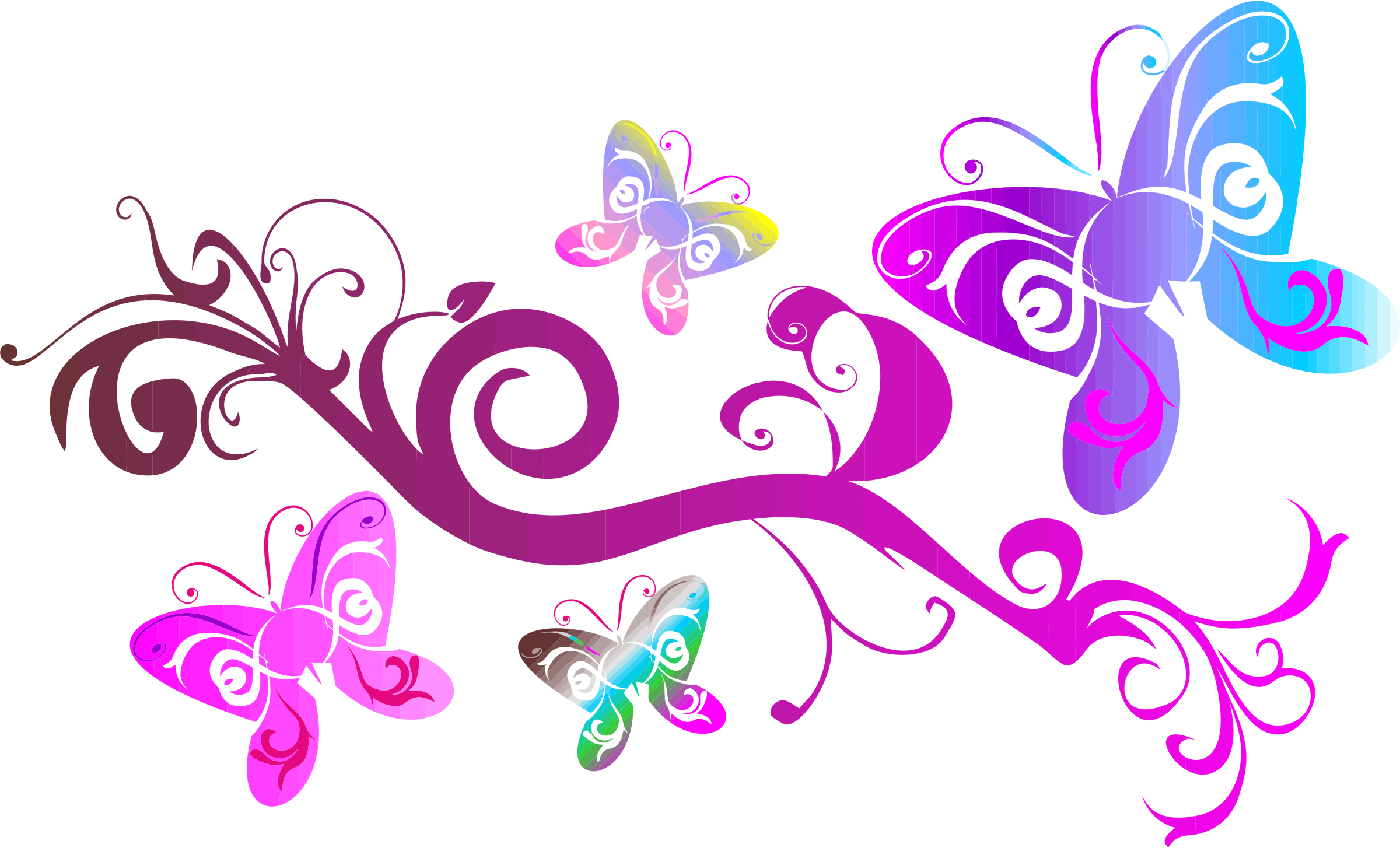 Pink flourish png. Butterflies icons free and